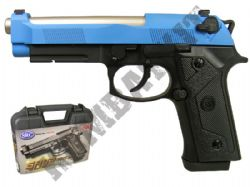 SR92 Metal Gas Blowback Airsoft BB Gun Black and Blue